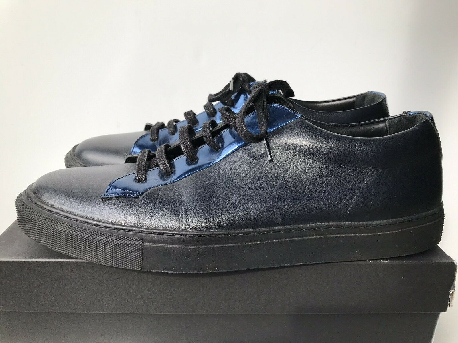 RAF SIMONS nero Leather blu Metallic Low scarpe da ginnastica scarpe 45 US12