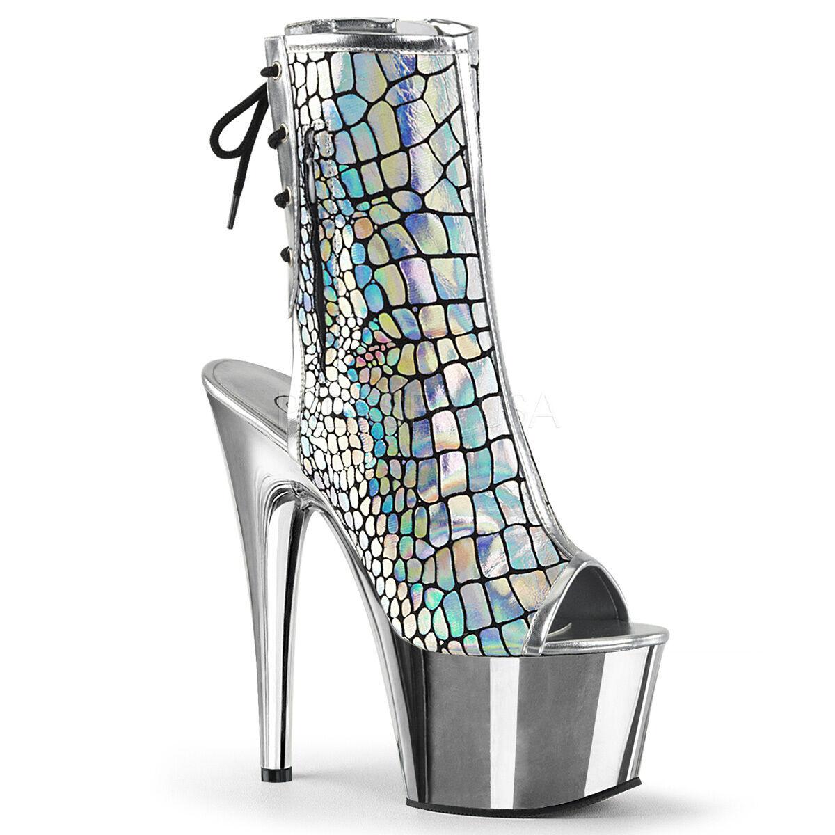 PLEASER Sexy Platform 7  Heels Stripper Dancer Ostrich Silver Ankle High Boots