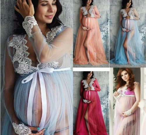 Umstandskleid Schwangerschafts Mutterschaft Spitze Fotoshooting Party Maxikleid