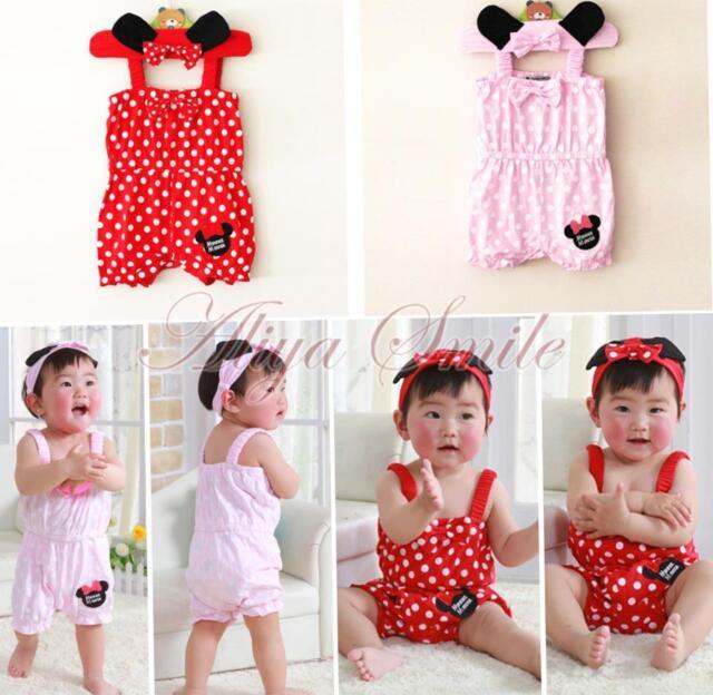 2PCS Newborn Infant Baby Girls Headband Romper Jumpsuit Clothes Outfit Set 0-18M