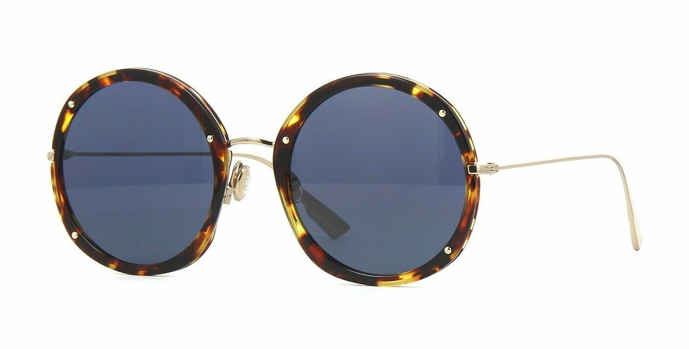 Christian Dior HYPNOTIC 1 Y67 Sunglasses Yellow Havana Gold Blue Lens New