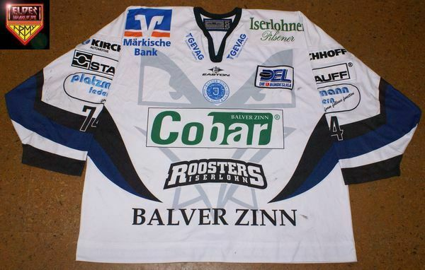 Iserlohn Roosters * 08/09 * No. 74 * Norm Maracle * away/white * moderate wear *