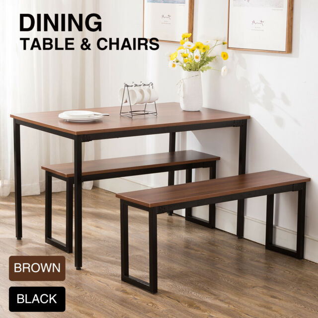 Fabulous 3 Piece Wood Dining Table Set With Two Bench Chair Kitchen Furniture Rectangular Theyellowbook Wood Chair Design Ideas Theyellowbookinfo