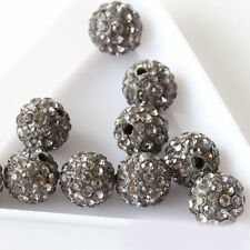 20Pcs Czech Crystal Rhinestones Pave Clay Round Disco Ball Spacer Bead 8mm Gray