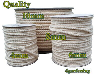 10M Cotton Rope Sash Cord Twine Washing Clothes Pulley Macrame DIY 4-10mm Crafts