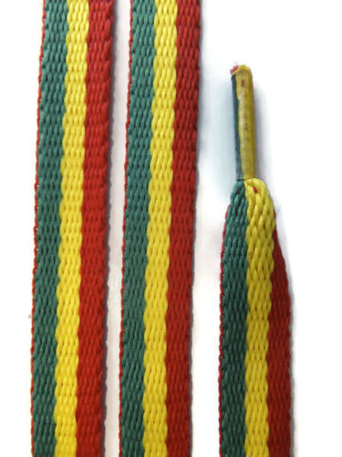 2 Pairs Red Yellow Green Rasta Shoelaces Trainer Lace Shoe Sneaker 10mm Flat