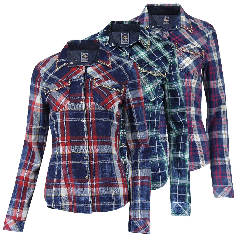 KEY LARGO Damen Hemd Blause feminines Holzfällerhemd Damenhemd DamenBlause Shirt