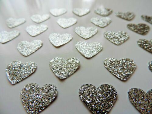 Argent Petites Paillettes Vinyle Auto-adhésif Amour Coeurs 100/% étanche autocollants