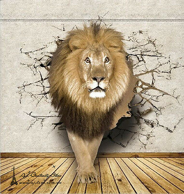 3D Lion Break Thr Wall Paper Wall Print Decal Wall Deco wall Mural Home
