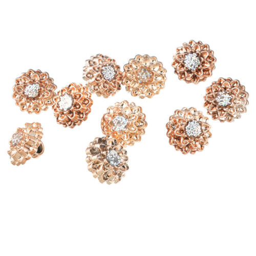 50 Boutons Ronde Manche Ronde Orne Strass DIY Bijou Couture Rose d/'or 12mm SP