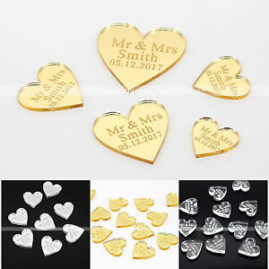 Personalised Engraved Love Heart Favour Wedding Table Decoration More Sizes