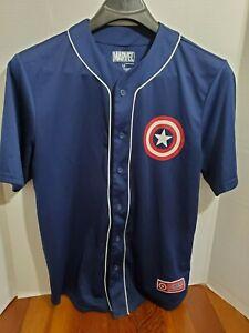 Marvel-Button-Down-Mens-Large-Short-Sleeve-Shirt-Captain-America-Avengers-Shield