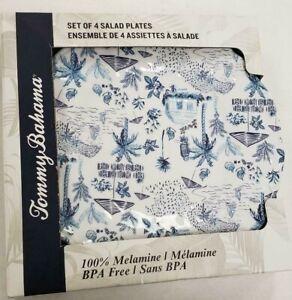 NWT-Tommy-Bahama-Set-of-4-Melamine-Salad-Plates-White-Blue-Island-Design