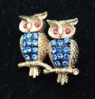 Signed Jj Goldtone Blue Rhinestones Double Owl Pin Brooch