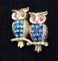 Signed Jj Goldtone Blue Rhinestones Double Owl Pin Brooch