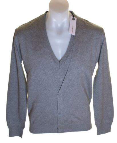 Bnwt Authentic Mens Full Circle V Neck Jumper Cardigan Sweater Grey New Butta