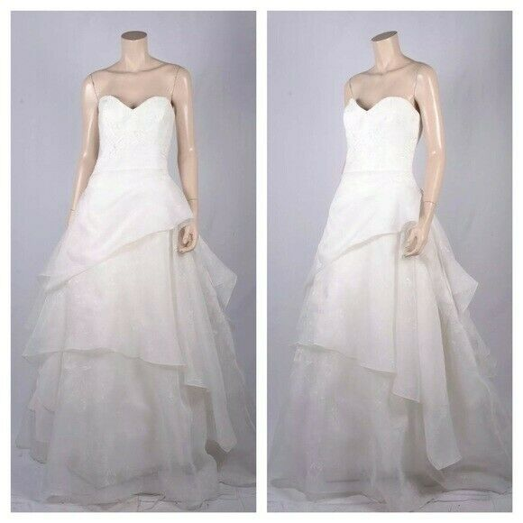 *NEW-NEVER WORN* Nouvelle By Amsale Printed Organza, Tiered Wedding Ballgown