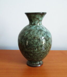 Whatstandwell-Pottery-Bud-Vase-Mottled-Green-Signed-5-1-2-034-Derbyshire-England