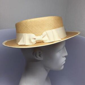 Image is loading Rare-Vintage-Chanel-Bow-Straw-Hat-90s-Cuba- 47e5209ffd4