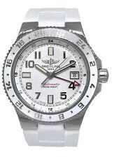 百年灵超级海洋 GMT 女士 41 不锈钢白色表盘/表圈手表表带 a32380