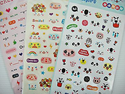 3 Sheets Facial Expression Diary Scrapbook Emotion Deco Emoji Stickers