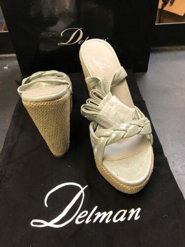 Delman Gema Wedge SEAFOAM Glisten Shoes Leather Strappy Wrap ankle tie Metallic