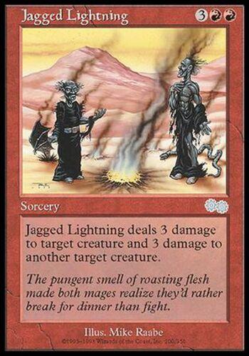 Jagged Lightning X4 EX//NM Urza's Saga MTG Magic Cards Red Uncommon