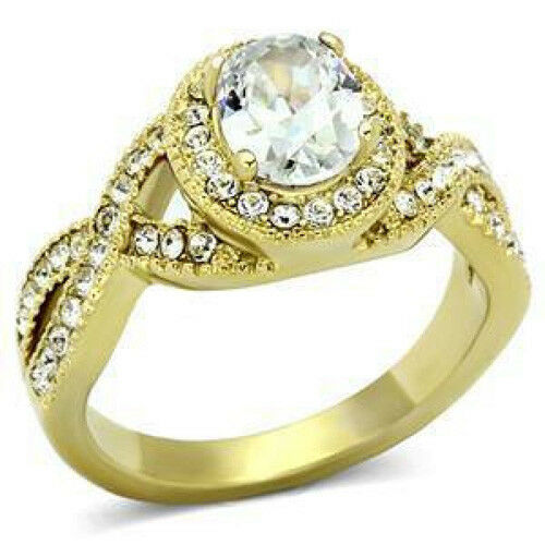 Details about  /Lucia Oval CZ Center Stone Gold Plated Stainless Steel Ring Sizes 6-8