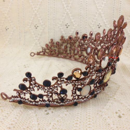 9cm High Brown Drip Oval Crystal Adult Large Tiara Crown Wedding Prom Party