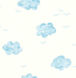 KinderTapete-Designtapete-verspielt-Wolkenhimmel-Hellblau-Sahne