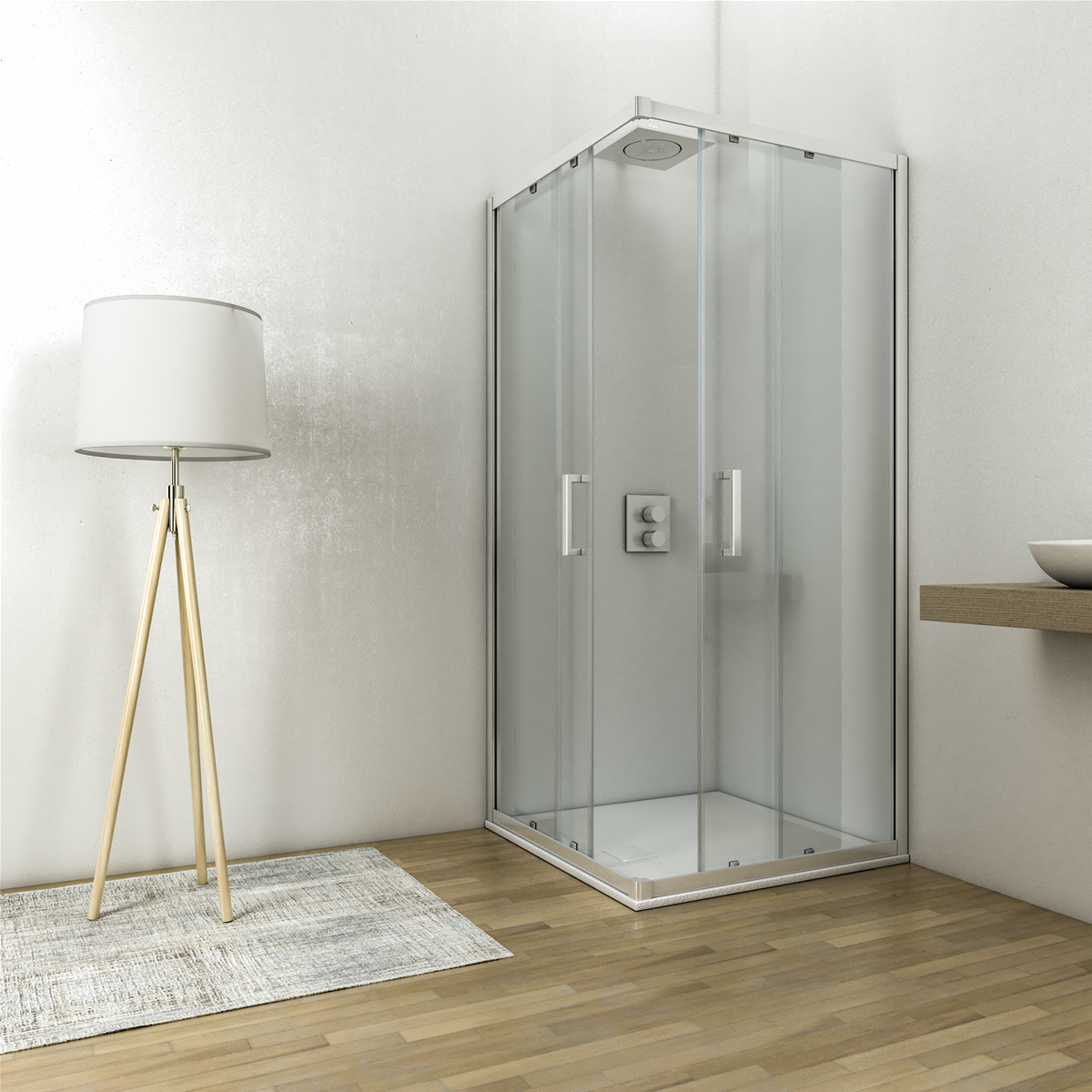 Box doccia angolare 90x90 h.195 profilo cromo cristallo temperato 6mm