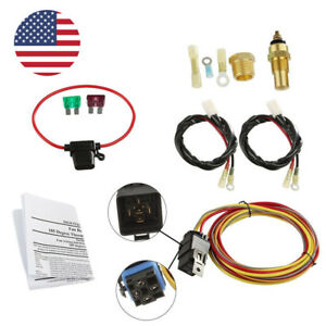 Radiator Electric Cooling Fan Wiring Kit Thermostat Relay 185 Ebay