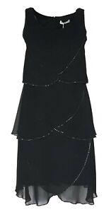 SHEEGO Damen Cocktail Kleid Chiffon schwarz GR. 44 46 50 ...