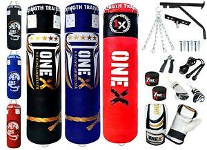 Kids Boxing Punch Bag Set 3Ft Filled Heavy Punch Bag Gloves,Bracket MMA,Chain