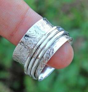 Solid 925 Sterling Silver Meditation Spinner Handmade Jewelry Ring All Size 6.5