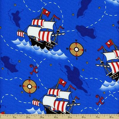 Dead Mans Cove Pirate Ships Sailing Map 100% Cotton Fabric