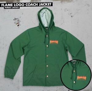 2e046eec3d17 Image is loading Thrasher-Magazine-FLAMES-LOGO-COACH-Hooded-Windbreaker -Jacket-