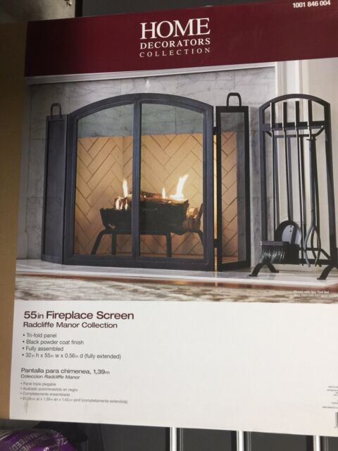 Home Decorators Collection Fireplace Screen 3 Panel Black Steel Fire