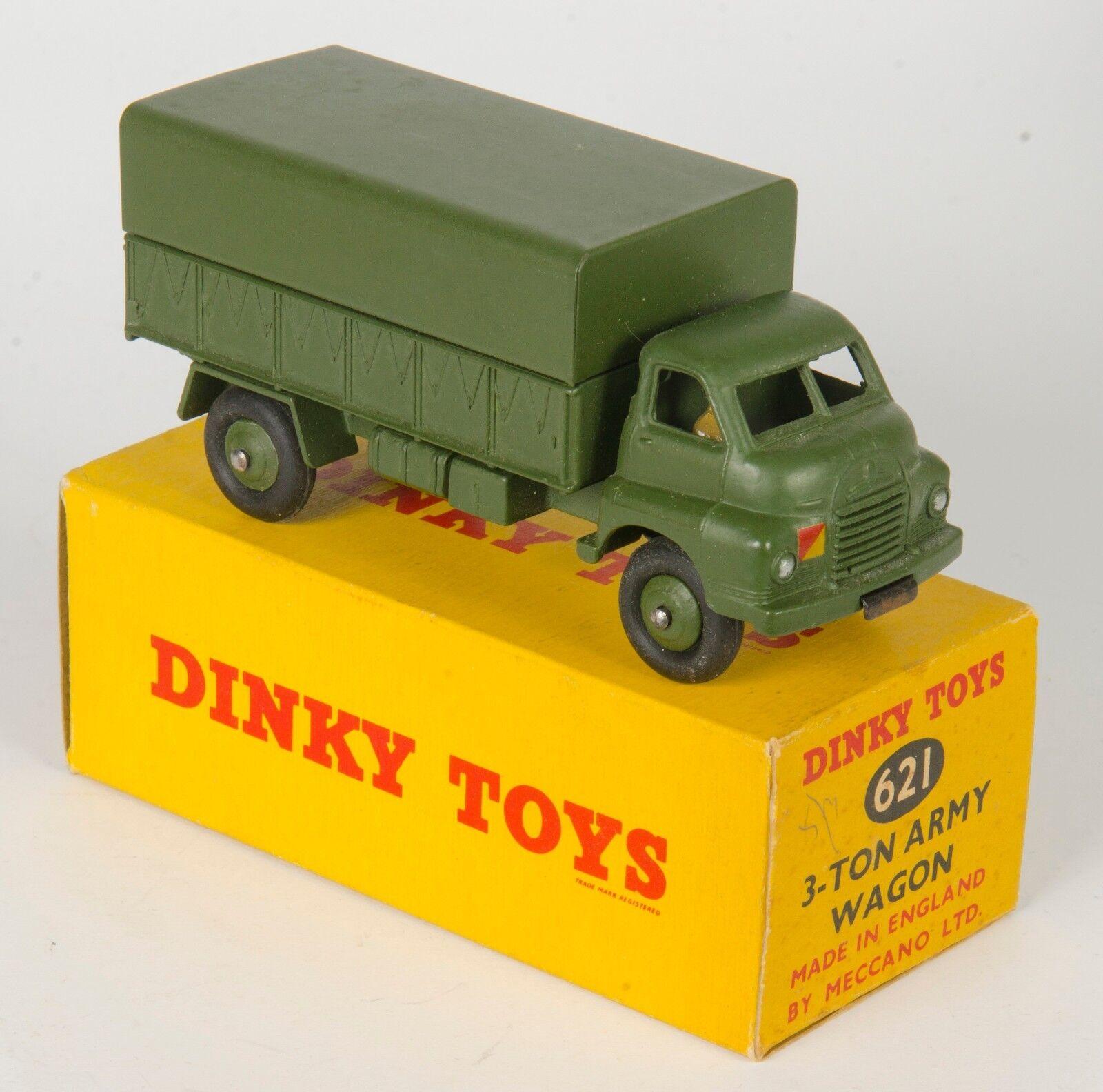 Dinky 621 3-Ton Bedford Ejército Vagón. muy casi nuevo y sin usar en caja de imágenes no. década De 1950
