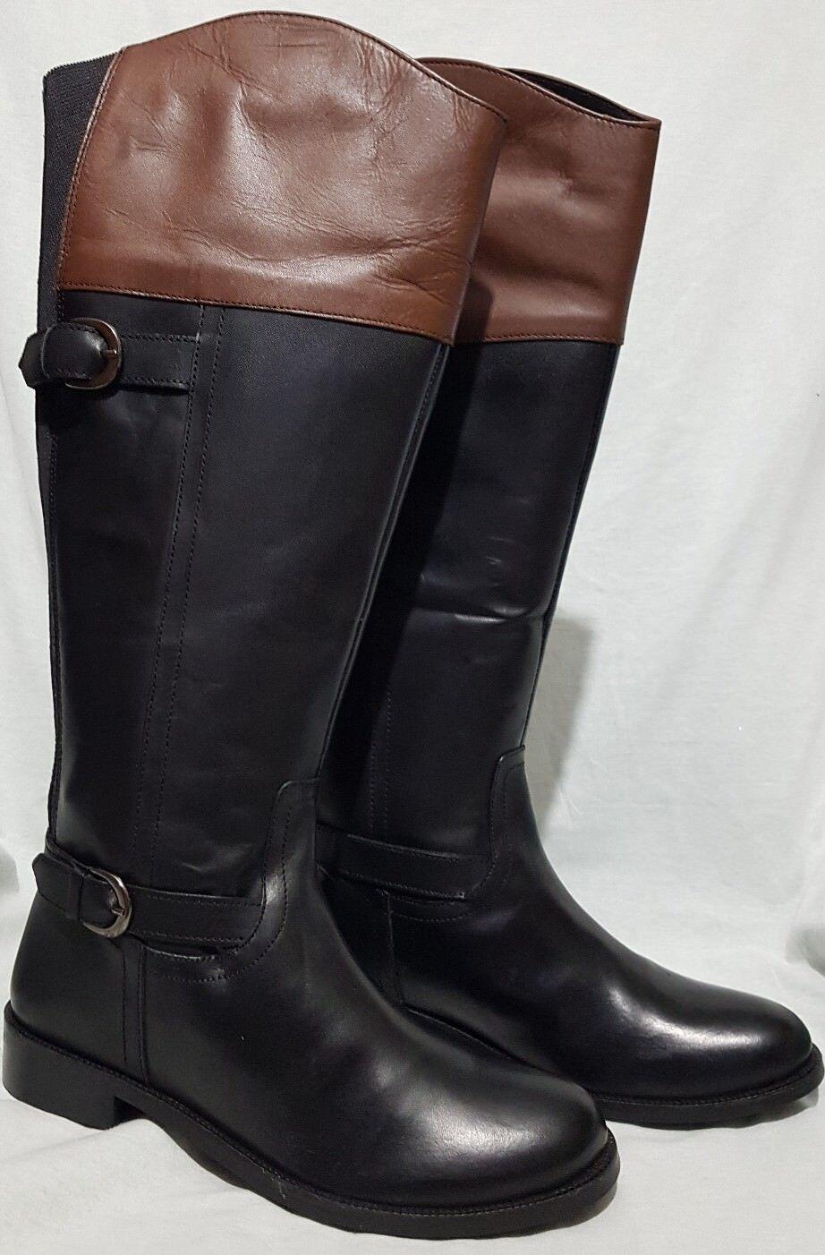 Da Donna in Pelle REDFOOT Equitazione Stivali Stile-Nero/Marrone