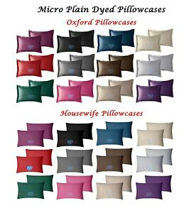 100-Polyester-Plain-Dyed-Oxford-amp-Housewife-Pillowcases-Pair-Satin-Silk-Feel