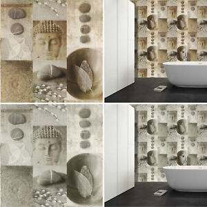 Image Is Loading Kitchen Bathroom Buddha Tile Wallpaper Washable Vinyl Leaf