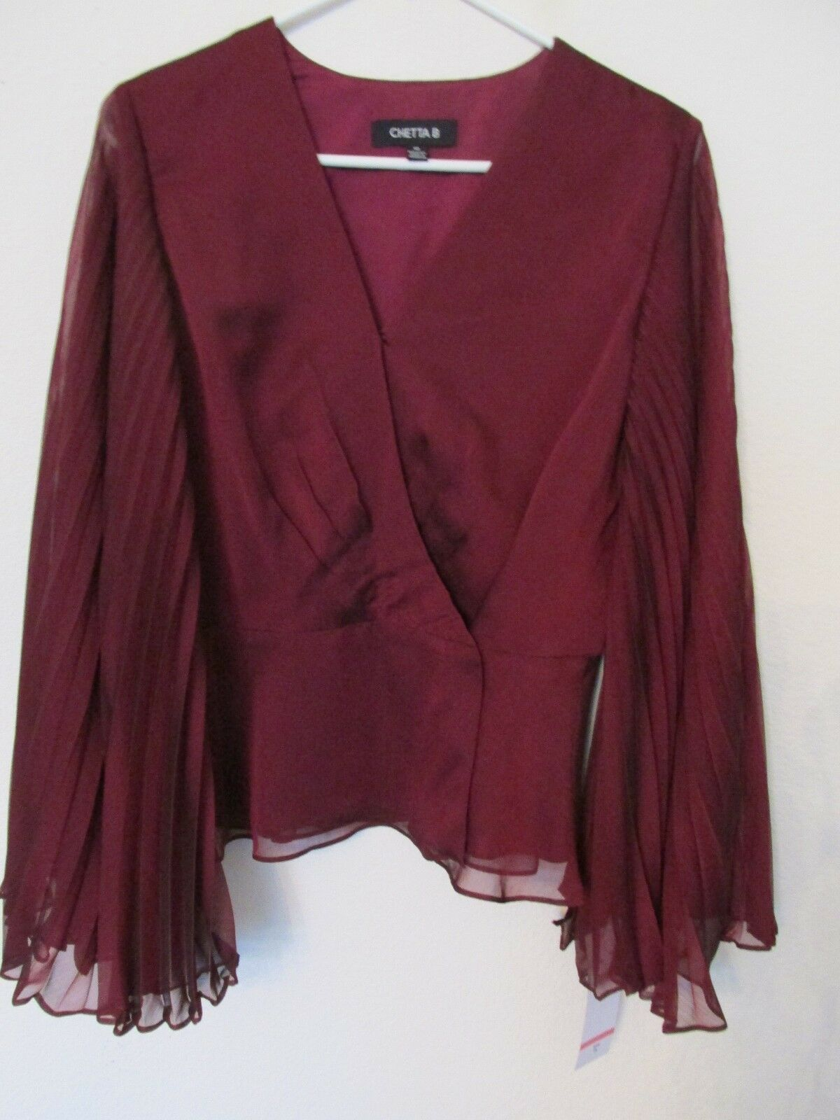 New Women's Chetta B Wrap Dressy Blouse Sheer Pleated Sleeves Merlot Red Size 10