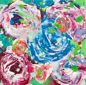 Blue Rose Floral Mini Painting Original Impasto Knife Art Katie Jeanne Wood