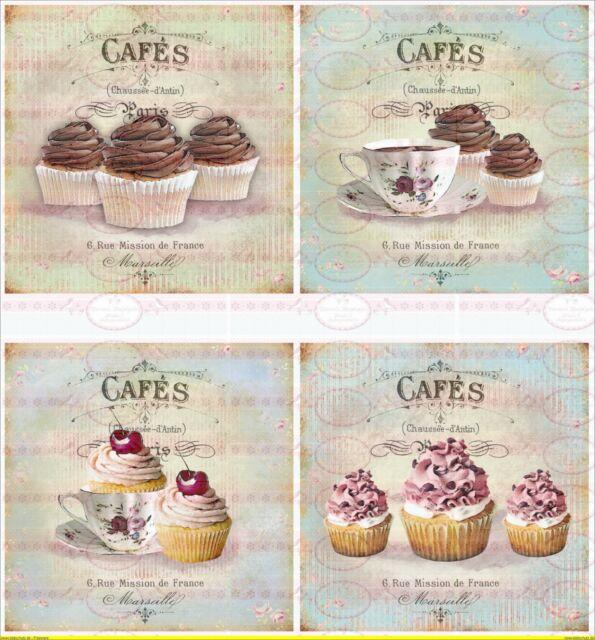 Bügelbilder Transfer Cupcake Chocolat Kaffee  Shabby-Chic Vintage A4  NO. 1460