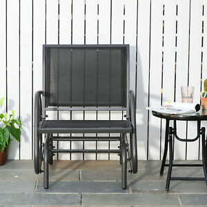 Outsunny Outdoor Gliding Swing Chair Garden Seat w/ Mesh Seat Curved Back Steel