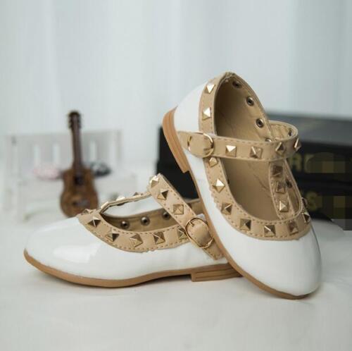 Vogue Princesse Filles Enfants Sandales Rivet Boucle T-Strap Plat Chaussures De Danse 16 Tailles