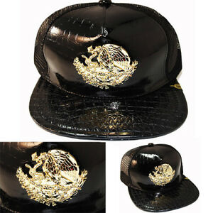 b15a391a1aa25 Details about Mexico Trucker Snapback Hat Black Polished Leather Gold badge  Cap