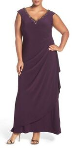 Woman-039-s-Alex-Evening-Plus-Size-22W-Eggplant-Jeweled-Neck-Long-Ruched-Jersey-Gown
