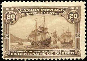 1908-Mint-H-Canada-F-Scott-103-20c-Quebec-Tercentenary-Issue-Stamp